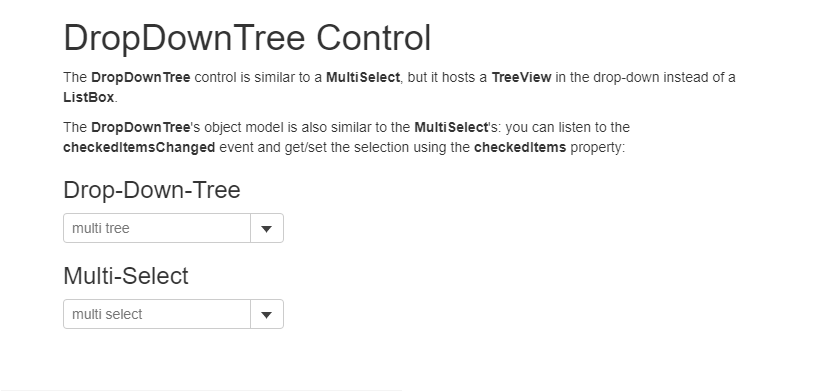 DropDownTree Control